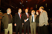 "Washington, DC - April 10, 2002 -- Standing on the historic Elizabethan Theatre stage at the Folger Shakespeare Library, United States Senators Chuck Schumer (Democrat of New York) and Orrin Hatch (Republican of Utah), joined by Dramatists Guild President John Weidman and distinguished playwrights Stephen Sondheim, Alfred Uhry, and Marsha Norman, unveiled new bi-partisan legislation that gives playwrights collective bargaining rights and just compensation for their works.   ""In a marketplace increasingly dominated by large corporations, individual playwrights need to be able to stand together to collectively negotiate contracts,"" said Schumer.  ""There's no business like show business but without this protection, the playwrights will be out of business.""  Left to right: Stephen Sondheim, Senator  Schumer, Senator Hatch, John Weidman, Marsha Norman, and Alfred Uhry..Credit: Ron Sachs / CNP"
