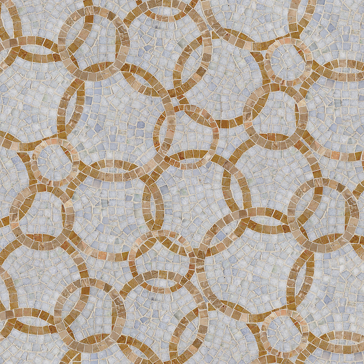 Des Cerceaux small, a hand-cut stone mosaic, shown in 1 cm and 1.5 cm polished Celeste and Breccia Oniciata.