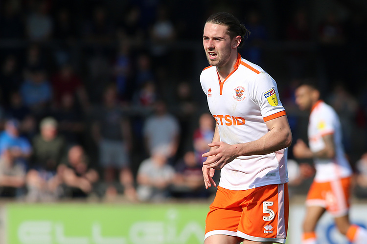 Blackpool's Antony Evans in action<br /> <br /> Photographer David Shipman/CameraSport<br /> <br /> The EFL Sky Bet League One - Scunthorpe United v Blackpool - Friday 19th April 2019 - Glanford Park - Scunthorpe<br /> <br /> World Copyright © 2019 CameraSport. All rights reserved. 43 Linden Ave. Countesthorpe. Leicester. England. LE8 5PG - Tel: +44 (0) 116 277 4147 - admin@camerasport.com - www.camerasport.com