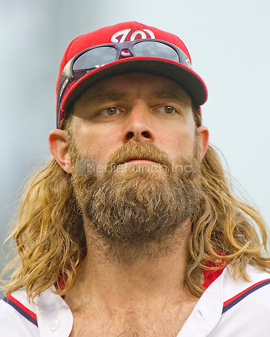 Washington Nationals left fielder Jayson Werth (28) as he returns to the dugout for the bottom of the ninth inning against the Chicago Cubs at Nationals Park in Washington, D.C. on Wednesday, June 15, 2016.  The Nationals won the game 5 - 4 in 12 innings.<br /> Credit: Ron Sachs / CNP/MediaPunch