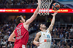 Real Madrid Facundo Campazzo and Olympiacos Piraeus Nikola Milutinov during Turkish Airlines Euroleague match between Real Madrid and Olympiacos Piraeus at Wizink Center in Madrid , Spain. February 09, 2018. (ALTERPHOTOS/Borja B.Hojas)