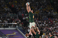 1st November 2019, Yokohama, Japan;  Eben Etzebeth of South Africa catches the ball in a line-out during the 2019 Rugby World Cup Final match between England and South Africa at the International Stadium Yokohama in Yokohama, Kanagawa, Japan on November 2, 2019.