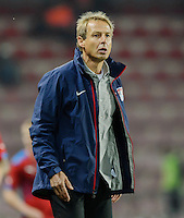 PRAGUE, Czech Republic - September 3, 2014: USA's coach Jurgen Klinsmann during the international friendly match between the Czech Republic and the USA at Generali Arena.