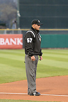 Base umpire Roberto Ortiz during the game as the Sacramento River Cats played the Salt Lake Bees at Smith's Ballpark on April 3, 2014 in Salt Lake City, Utah.  (Stephen Smith/Four Seam Images)
