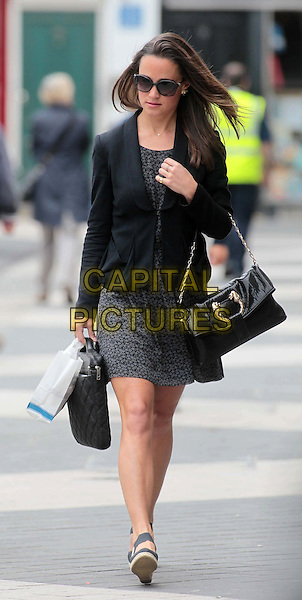 Pippa Middleton spotted in London, England..July 20th, 2011.full length black jacket blazer grey gray print dress sunglasses shades bag purse.CAP/HIL.©John Hillcoat/Capital Pictures.