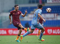 Calcio, Serie A: Roma vs Sampdoria. Roma, stadio Olimpico, 11 settembre 2016.<br /> Roma&rsquo;s Francesco Totti, left, is challenged by Sampdoria&rsquo;s Vasco Regini during the Italian Serie A football match between Roma and Sampdoria at Rome's Olympic stadium, 11 September 2016. Roma won 3-2.<br /> UPDATE IMAGES PRESS/Isabella Bonotto