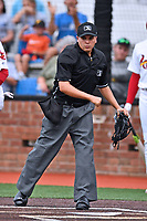 Home plate umpire Josh Gilreath makes a call during the Appalachian League game between the Bristol Pirates and the Johnson City Cardinals at TVA Credit Union Ballpark on June 23, 2017 in Johnson City, Tennessee. The Pirates defeated the Cardinals 4-3. (Tony Farlow/Four Seam Images)