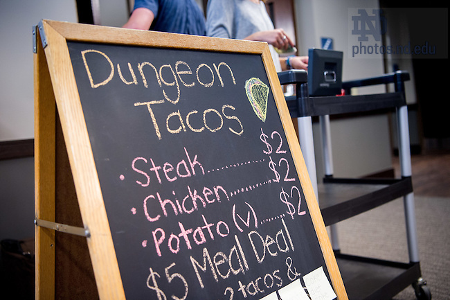 September 8, 2016; Menu for food sales in Dunne Hall (Photo by Matt Cashore/University of Notre Dame)