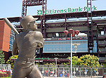 A statue of Philadelphia Phillies Hall of Fame player Mike Schmidt stands outsice Citizens Bank Park in Philadelphia, Pennsylvania.