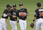 Ichiro Suzuki (Marlins), APRIL 25, 2015 - MLB : Ichiro Suzuki of the Miami Marlins is celebrated by teammates after the Major League Baseball game against the Washington Nationals at Marlins Park in Miami, Florida, United States. He set the record for the most runs scored by a Japanese born player in the eighth inning. (Photo by AFLO)
