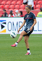 02 June 2013: U.S Women's National Soccer Team midfielder Kristie Mewis #8 in action during the warm-up in an International Friendly soccer match between the U.S. Women's National Soccer Team and the Canadian Women's National Soccer Team at BMO Field in Toronto, Ontario.<br /> The U.S. Women's National Team Won 3-0.