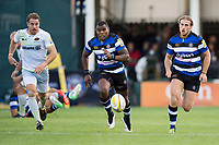 Chris Wyles of Saracens, Semesa Rokoduguni and Max Clark of Bath Rugby chase after the ball. Aviva Premiership match, between Bath Rugby and Saracens on September 9, 2017 at the Recreation Ground in Bath, England. Photo by: Patrick Khachfe / Onside Images