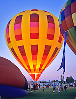 Close up of hot air balloons being filled with hot air. Art and Air Festival. Albany Oregon