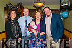 Baby Jack O'Donnell with his parents John & Mary O'Donnell, Listowel and god parents Sharon McGinty T J O'Donnell who was christened in Castlewmahon Church by Fr Duggan on Saturday last and afterwards at the Saddle Bar, Listowel.
