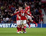 Marten de Roon of Middlesbrough celebrates scoring with team mates during the English Premier League match at Riverside Stadium, Middlesbrough. Picture date: April 26th, 2017. Pic credit should read: Jamie Tyerman/Sportimage