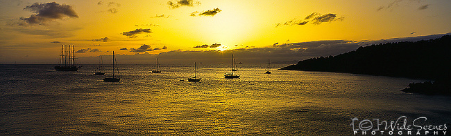 Caribbean Panorama - Sunset over Colombier Bay, St. Barts, Caribbean.<br />