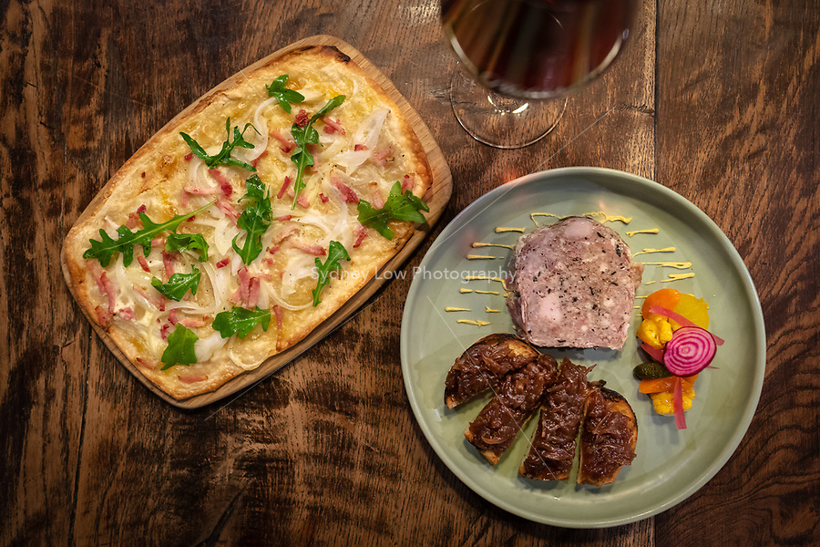 Melbourne, May 4, 2018 - A dish of Tarte Flambe and Terrine at Philippe Restaurant, Melbourne, Australia. Photo Sydney Low.