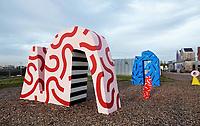 Nederland Utrecht - november 2018. Nieuwbouwwijk Leidsche Rijn. RAUM; een openbaar expositieplein op het Berlijnplein. Garden Scupltures van ontwerpers Winneke de Groot en Felix van Dam.   Foto Berlinda van Dam / Hollandse Hoogte