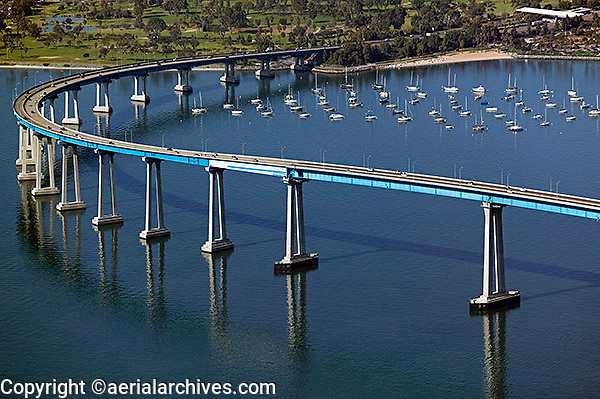 aerial above Coronado bridge, San Diego, California