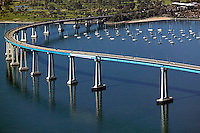 aerial above Coronado bridge, San Diego, California