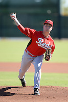 Cincinnati Reds starting pitcher Mark Armstrong during an instructional league game against the Cleveland Indians on September 28, 2013 at Goodyear Training Complex in Goodyear, Arizona.  (Mike Janes/Four Seam Images)