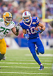 14 December 2014: Buffalo Bills wide receiver Robert Woods takes a screen pass for a 24-yard gain in the first quarter against the Green Bay Packers at Ralph Wilson Stadium in Orchard Park, NY. The Bills defeated the Packers 21-13, snapping the Packers' 5-game winning streak and keeping the Bills' 2014 playoff hopes alive. Mandatory Credit: Ed Wolfstein Photo *** RAW (NEF) Image File Available ***