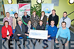 CHEQUE: On Tuesday evening up in the catering school, ITT North Campus a cheque of ?15,946.71 was presented to The Kerry/Cork Health Link, and to the Recovery Haven by the organisers of the the mony was raised by Sigerson  Cup which was played recently, and by selling ticket sales, on line and donation. Front l-r: Phipomena Stack (RH), Pat McGarty (ITT), Siobhan McSweeney (manager RH), Mary Jo Lynch (Kerry/Cork Link), Michael Crossin and Fergus Dunne (ITT). Back l-r: Jeanie Farrell (ITT), Eileen Kennedy (RH), Sean Prendergast (Kerry/CorkLink), Mauren O' Brien and Marian Barnes (RH), Eamon Feris and Dan Browne (ITT).