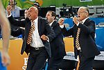 """Serbia`s national basketball team head coach Dusan Ivkovic (R) celebrate during European basketball championship """"Eurobasket 2013""""  basketball game for 7th place between Serbia and Italy in Stozice Arena in Ljubljana, Slovenia, on September 21. 2013. (credit: Pedja Milosavljevic  / thepedja@gmail.com / +381641260959)"""