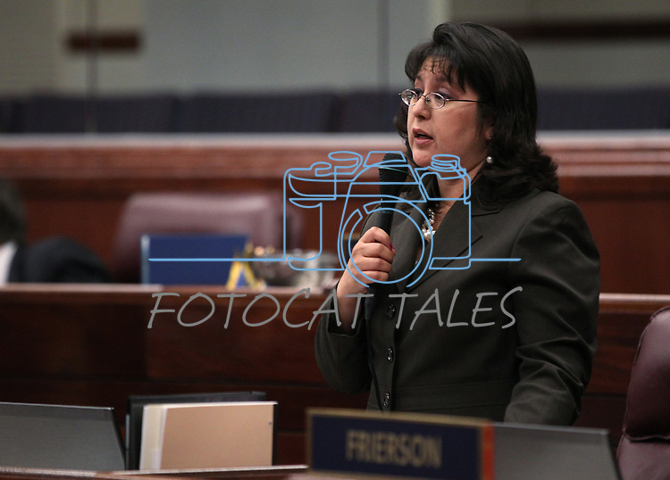 Nevada Assemblywoman Irene Bustamante Adams, D-Las Vegas, speaks on the Assembly floor Friday morning, May 6, 2011, at the Legislature in Carson City, Nev..Photo by Cathleen Allison