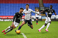 Bolton Wanderers' Antonee Robinson vies for possession with Fulham's Ryan Fredericks as Fulham's  Aboubakar Kamara looks <br /> <br /> Photographer Andrew Kearns/CameraSport<br /> <br /> The EFL Sky Bet Championship - Bolton Wanderers v Fulham - Saturday 10th February 2018 - Macron Stadium - Bolton<br /> <br /> World Copyright &copy; 2018 CameraSport. All rights reserved. 43 Linden Ave. Countesthorpe. Leicester. England. LE8 5PG - Tel: +44 (0) 116 277 4147 - admin@camerasport.com - www.camerasport.com