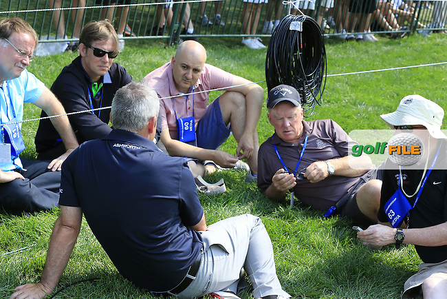 2014 Ryder Cup Captain Paul McGinley (IRL) chats with journalists on the practice range during Wednesday's Practice Day of the 95th US PGA Championship 2013 held at Oak Hills Country Club, Rochester, New York.<br /> 7th August 2013.<br /> Picture: Eoin Clarke www.golffile.ie
