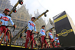 Team Katusha Alpecin presented on stage at the team presentation in Antwerp before the start of the 2019 Ronde Van Vlaanderen 270km from Antwerp to Oudenaarde, Belgium. 7th April 2019.<br /> Picture: Eoin Clarke | Cyclefile<br /> <br /> All photos usage must carry mandatory copyright credit (&copy; Cyclefile | Eoin Clarke)
