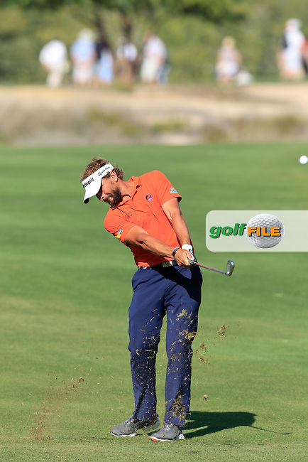 Joost Luiten (NED) plays his 2nd shot on the 14th hole during Sunday's Final Round of the 2016 Omega Dubai Desert Classic held at the Emirates Golf Club, Dubai. 7th February 2016.<br /> Picture: Eoin Clarke | Golffile<br /> <br /> <br /> All photos usage must carry mandatory copyright credit (&copy; Golffile | Eoin Clarke)