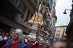 Procession of saint of San Fermin festival 2014, in Pamplona, Spain. Revelers from around the world arrive to Pamplona every year to take part in the running bulls of San Fermin. Photo by Jose Luis Cuesta.