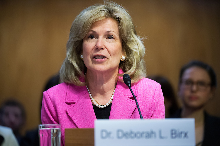 UNITED STATES - MAY 6: Ambassador-at-Large Deborah L. Birx, M.D., testifies before a Senate Appropriations State, Foreign Operations and Related Programs Subcommittee hearing in Dirksen Building on global health problems, May 6, 2015.(Photo By Tom Williams/CQ Roll Call)