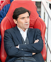 Valencia manager Marcelino during the UEFA Europa League Semi-Final 1st leg match between Arsenal and Valencia at the Emirates Stadium, London, England on 2 May 2019. Photo by Andrew Aleksiejczuk / PRiME Media Images.