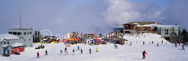 Downhill Skiing at the Roundhouse Lodge on Whistler Mountain, Whistler Ski Resort, BC, British Columbia, Canada - Panoramic View