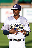 Wisconsin Timber Rattlers outfielder Je'Von Ward (4) warms up prior to a Midwest League game against the Clinton LumberKings on June 20, 2019 at Fox Cities Stadium in Appleton, Wisconsin. Wisconsin defeated Clinton 5-2. (Brad Krause/Four Seam Images)