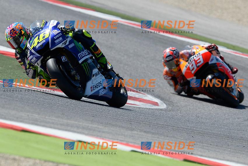 Valentino Rossi, Marc Marquez<br /> Misano Adriatico (San Marino) 14/09/2014 - gara Moto GP  foto Luca Gambuti/Image Sport/Insidefoto