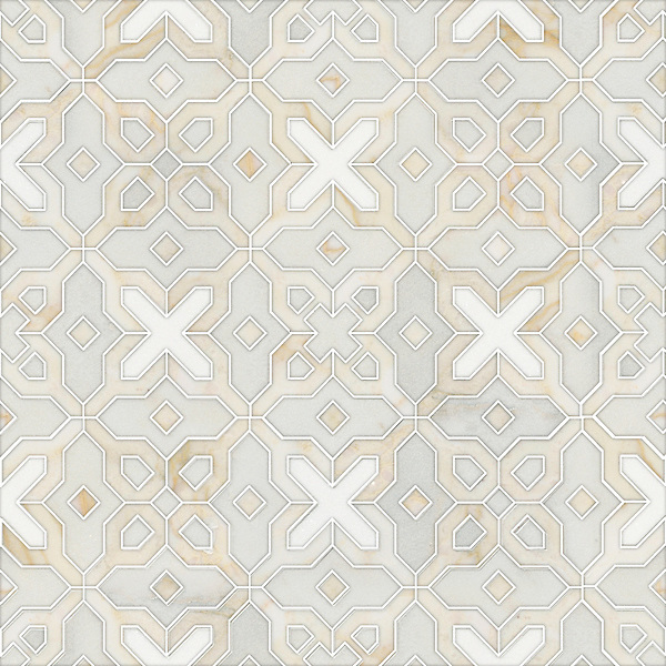 Huelva, a waterjet stone mosaic, shown in honed Heavenly Cream, polished Cloud Nine and Thassos, is part of the Miraflores Collection by Paul Schatz for New Ravenna.<br />
