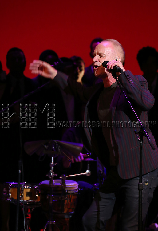 Sting performing at 'Uprising Of Love: A Benefit Concert For Global Equality' at the Gershwin Theatre on September 15, 2014 in New York City.