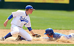 SIOUX FALLS, SD - MAY 23:  Greg Kaiser #22 from IPFW puts the tag on Cody Sharrow #2 from South Dakota State at second in the ninth inning of their game Friday at the Summit League Baseball Championship at the Sioux Falls Stadium. (Photo by Dave Eggen/Inertia)