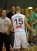 Jets import Chris Hagen has words with Mike Fitchett. NBL  - Manawatu Jets  v Nelson Giants at Arena Manawatu, Palmerston North, New Zealand on Saturday, 25 June 2011. Photo: Dave Lintott / lintottphoto.co.nz