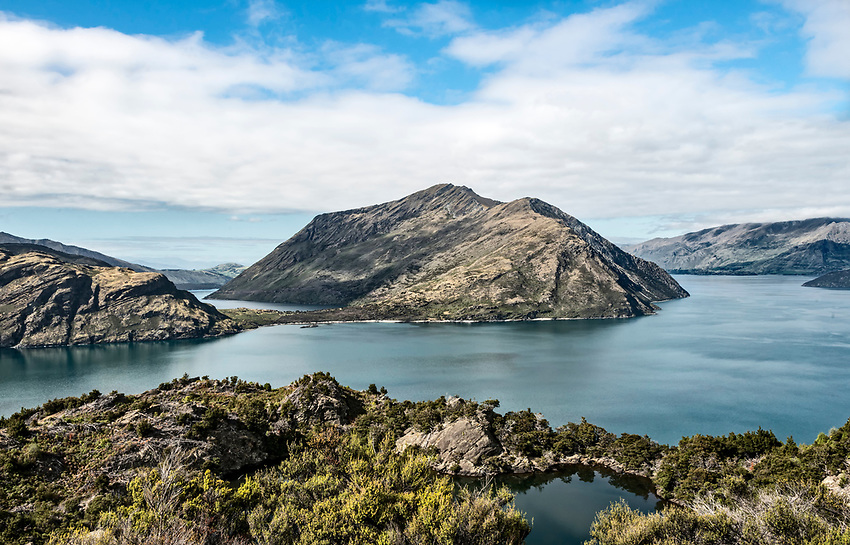 View of Lake Wanaka from the top of the island of Mou Waho
