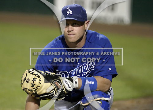 March 25, 2004:  Catcher Koyie Hill of the Los Angeles Dodgers organization during Spring Training at Dodgertown in Vero Beach, FL.  Photo copyright Mike Janes/Four Seam Images
