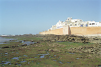 A view at low tide of the fortress walls of the Medina in Essouira, Morocco