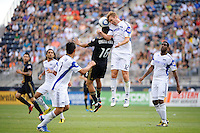 Michael Orozco Fiscal (16) of the Philadelphia Union and Jimmy Conrad (12) of the Kansas City Wizards. The Philadelphia Union and the Kansas City Wizards played to a 1-1 tie during a Major League Soccer (MLS) match at PPL Park in Chester, PA, on September 04, 2010.