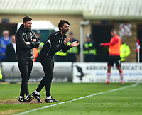Lincoln City's assistant manager Nicky Cowley, lreft, and Lincoln City manager Danny Cowley shouts instructions to his team from the technical area<br /> <br /> Photographer Andrew Vaughan/CameraSport<br /> <br /> The EFL Sky Bet League Two - Lincoln City v Macclesfield Town - Saturday 30th March 2019 - Sincil Bank - Lincoln<br /> <br /> World Copyright © 2019 CameraSport. All rights reserved. 43 Linden Ave. Countesthorpe. Leicester. England. LE8 5PG - Tel: +44 (0) 116 277 4147 - admin@camerasport.com - www.camerasport.com
