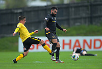 Wellington Phoenix's Henry Hamilton pressures Team Wellington's Rory McKeown during the ISPS Handa Premiership football match between Team Wellington and Wellington Phoenix Reserves at David Farrington Park in Wellington, New Zealand on Sunday, 17 November 2019. Photo: Dave Lintott / lintottphoto.co.nz