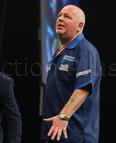 31.03.2016. The Motorpoint Arena, Cardiff.  Betway PDC Premier League Darts Judgement Night. Robert Thornton shows his frustration